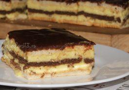 prajitura fara coacere cu biscuiti si crema de vanilie
