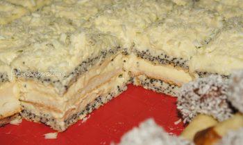 prăjitură cu mac și cremă de vanilie