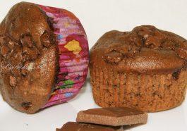 brioșe cu cacao și ciocolata, brioșe cu ciocolata