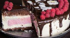 tort cu mousse de zmeură și vanilie