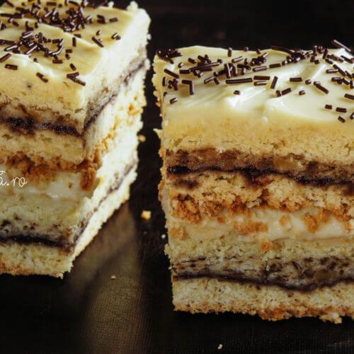 prăjitură cu magiun, nucă și vanilie