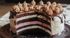 tort cu cremă de ciocolată albă și zmeură